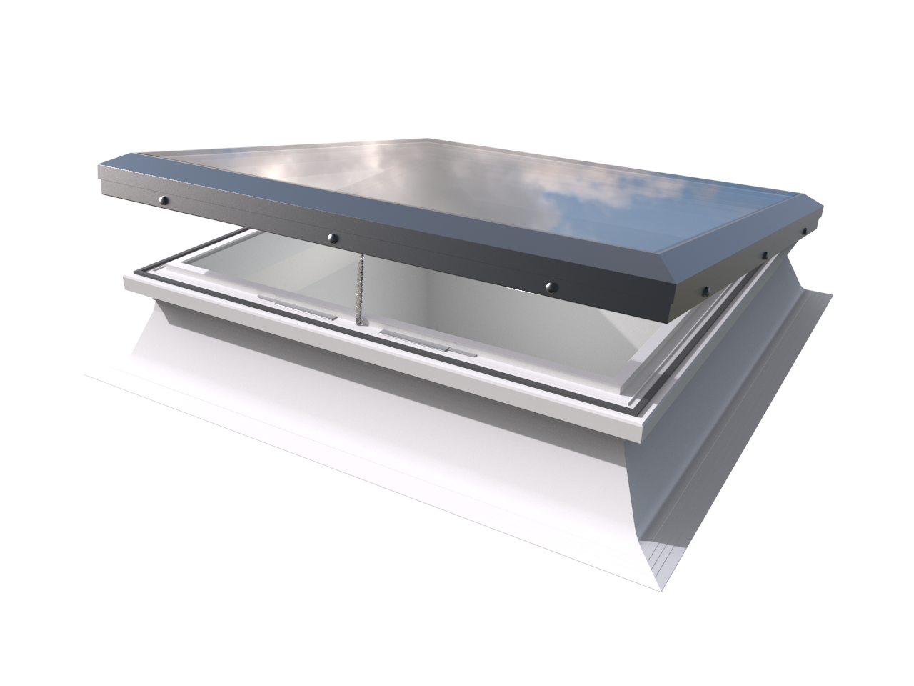 Mardome Glass Trade Rooflight Electric Hinge with PVC Kerb