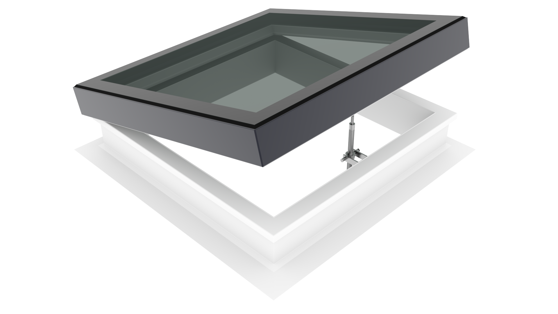 Lunaglaze ALU Manual Hinged Glass Rooflight with PVC Kerb