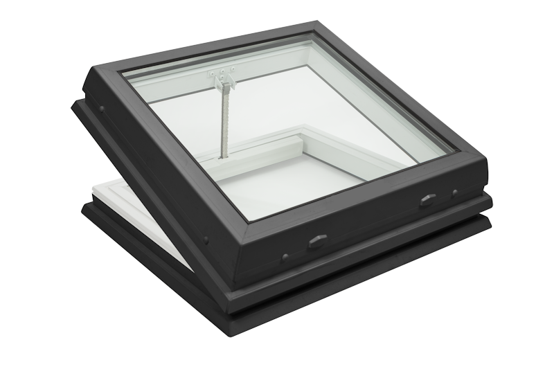 Lunaglaze Grey Electric Hinged Glass Rooflight to Suit a Builders Kerb