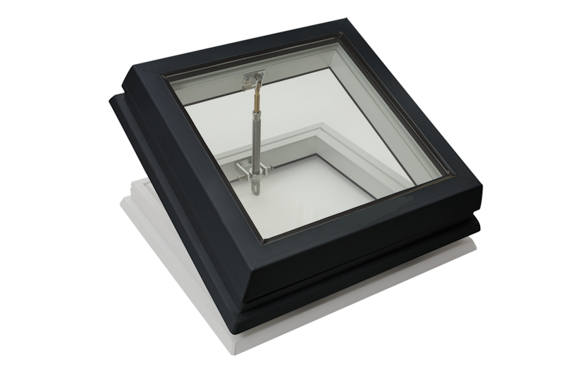 Lunaglaze Grey Manual Hinged Glass Rooflight to Suit a Builders Kerb