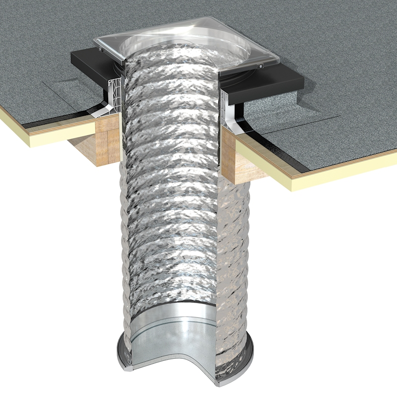 Thermadome Flexible Sun Tube Kit with a PVC Kerb for Flat Roofs