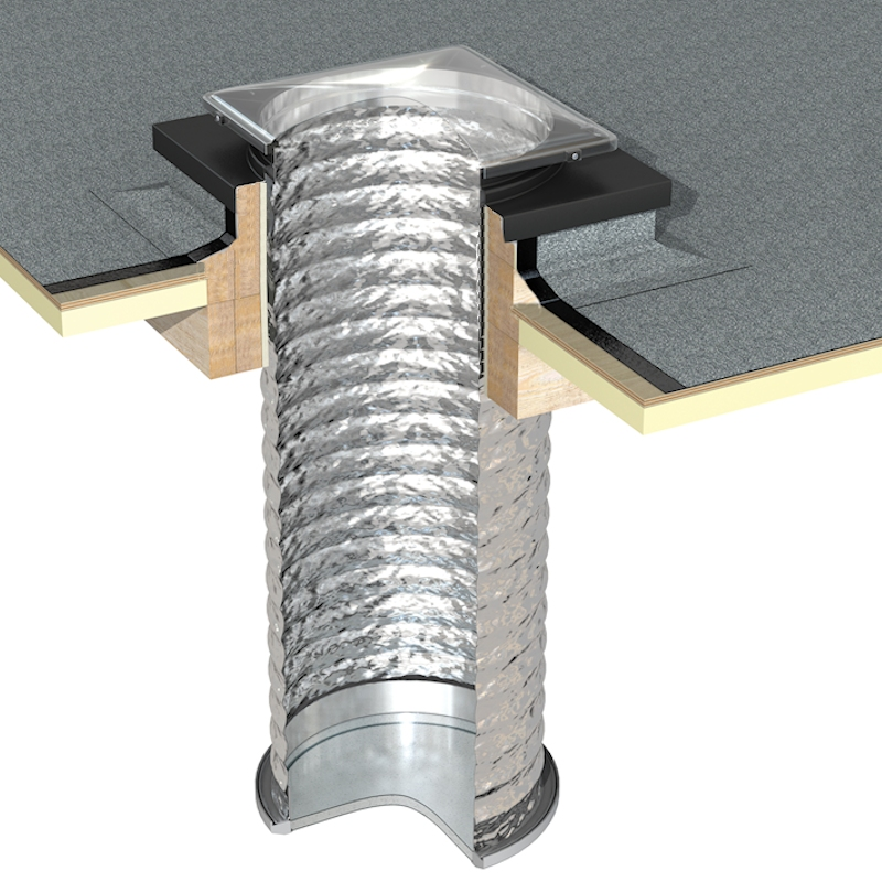 Thermadome Flexible Sun Tube Kit to suit a Builders Timber Kerb for Flat Roofs