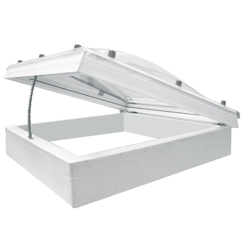 Coxdome Flat Rooflight with Polycarbonate Dome & Electric Hinge
